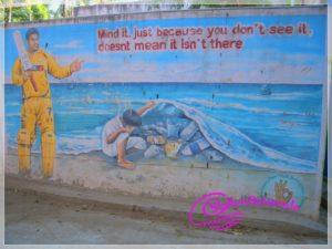 Wandbild in Indien zur Meeresverschmutzung